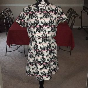 TopShop Patterned Dress with side Cut Outs